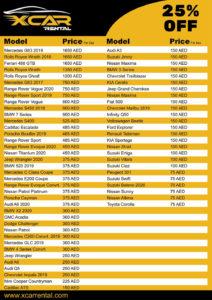 Rent a Car Dubai Price List