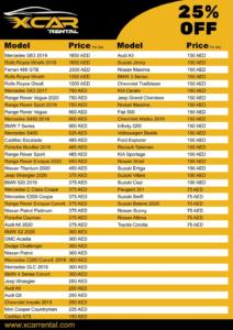 X Car Rental Price List