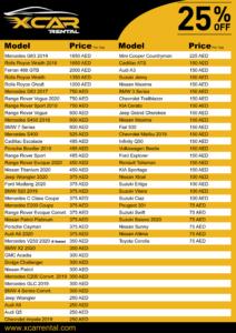 Car Rental Price List in Dubai