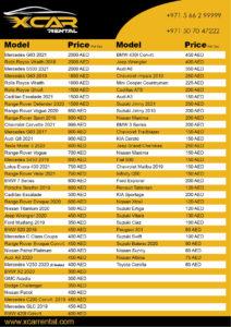 Car Rental Dubai Price List