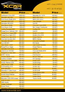 X Car Rental Dubai Price List