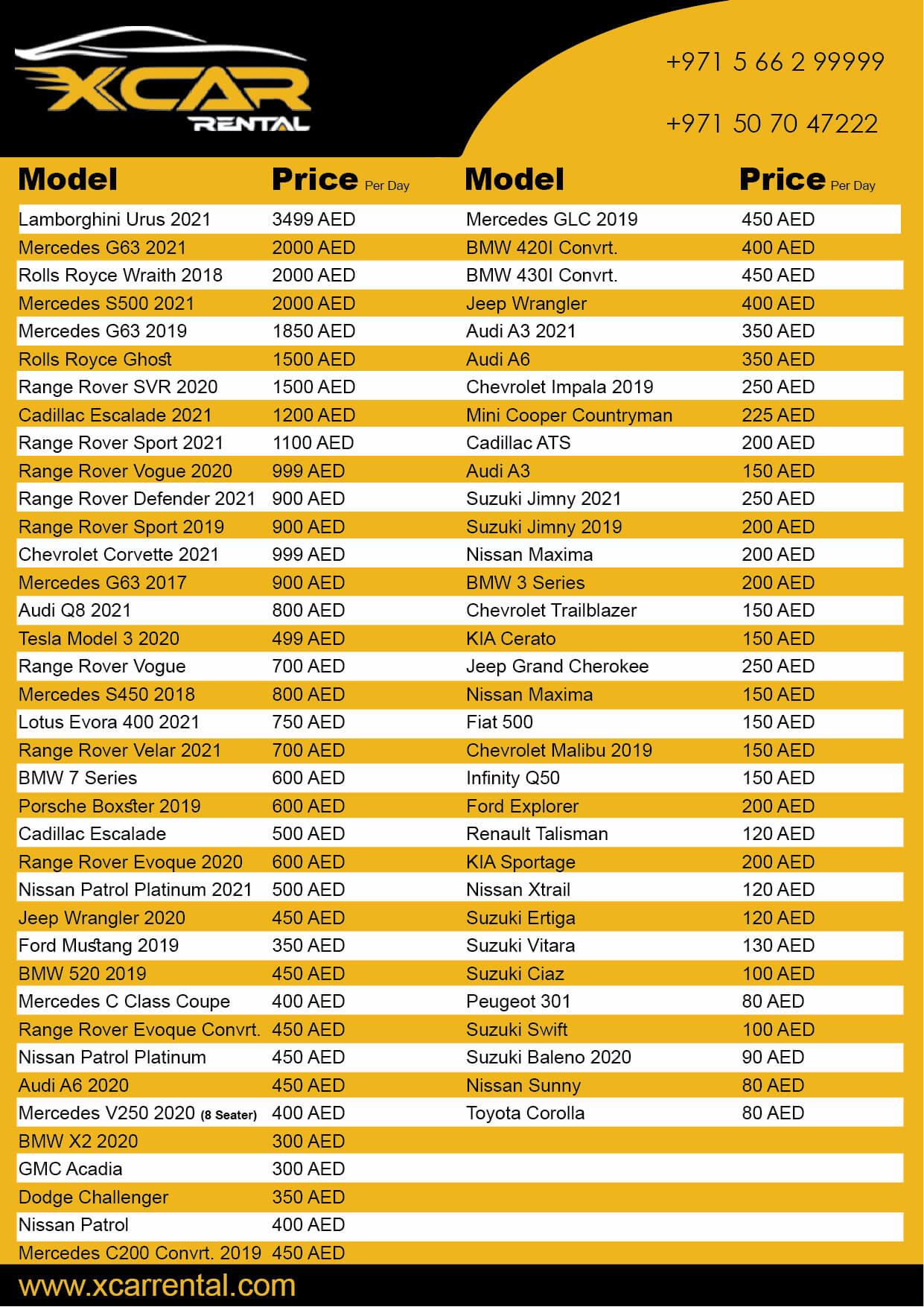 Sports and Luxury Car Rental Price List in Dubai